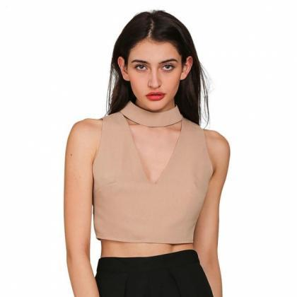 Hollow Out Halter Crop Top