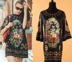 FREE SHIPPING New European Runway Prom Dress Elegant 3/4 Sleeve Abstract Print Vintage Dress