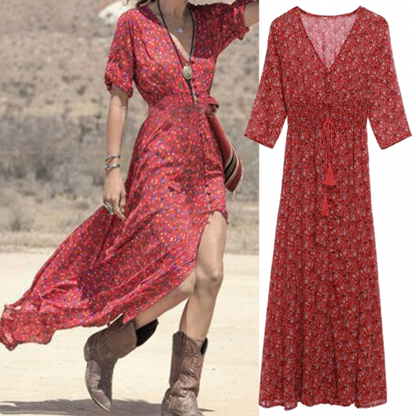 Bohemian Style Summer Floral Print Casual Dress