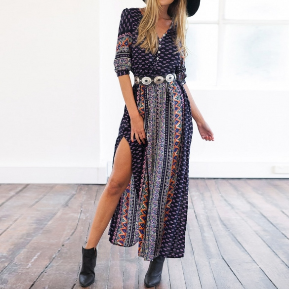Fashion Women Half Sleeve Print Casual Party Maxi Long Dress