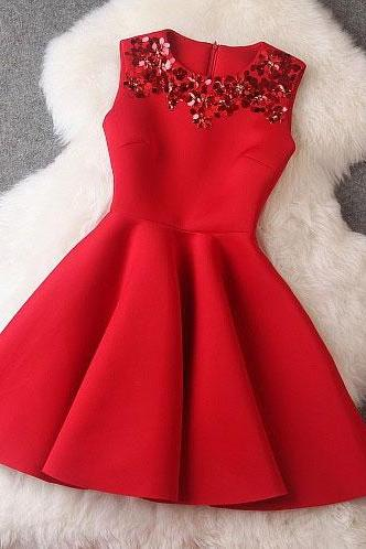 Autumn Winter Dress Red Sleeveless Sequin Mini Party Dresses