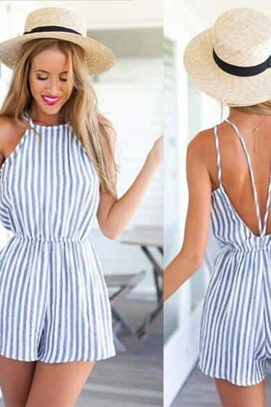 Striped Backless Casual Romper